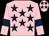 Pink, dark blue stars and armlets (Mrs Judith Ratcliff)