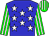 Blue, white stars, green and white stripes on sleeves and cap (Finest Racing Stable And Barroca, Leroy)