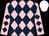 Pink and dark blue diamonds, white cap (David Barlow & Lyn Rutherford)
