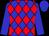 Big-blue body, red three diamonds, big-blue arms, big-blue cap (M Mescam)