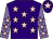Purple, pink stars, mauve sleeves, pink stars, purple cap, pink star (Mrs June Watts)