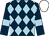 Dark blue and light blue diamonds, dark blue sleeves, light blue armlets, white cap (Watson & Lawrence)