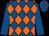 Royal blue & orange diamonds,royal blue sleeves,royal blue cap,orange diamonds (Miss Jennifer O'Kane & Samuel John Hegarty)