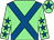 Light green, royal blue cross belts, light green sleeves, royal blue stars, light green cap, royal blue star (Dbac Syndicate)