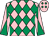Pink and emerald green diamonds, diabolo on sleeves (Sheila Bradley And P T Midgley)
