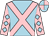 Light blue, pink cross belts, pink sleeves, light blue diamonds, light blue and pink quartered cap (Mr C M Graham)