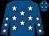 Royal blue, white stars (J J Lambe)