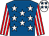 Royal blue, white stars, red & white striped sleeves, white cap, royal blue stars (Mrs S Rowley-Williams)
