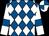 Royal blue and white diamonds, white sleeves, royal blue armlets, quartered cap (Mr D J Deer)