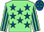 Light green, royal blue stars, striped sleeves, royal blue cap, light green stars (Drury Tea & Coffee Limited)