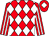 Red and white diamonds, striped sleeves, red cap, white diamond (Mr S Bean)