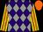 Purple and grey diamonds, yellow and orange striped sleeves, orange cap (As Sutch Partnership)