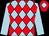 Light blue and red diamonds, light blue sleeves, red cap, light blue diamond (The Hon R J Arculli)
