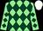 LIGHT GREEN and DARK GREEN diamonds, WHITE cap (Mr F Gillespie)