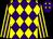 Purple and yellow diamonds, yellow and purple striped sleeves (Mr Paul Inglett)
