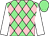 Light green & pink diamonds, white sleeves, light green cap (In The Malachy's Syndicate)
