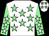White, light green stars, light green sleeves, white stars and stars on cap (Mr M J Caddy)